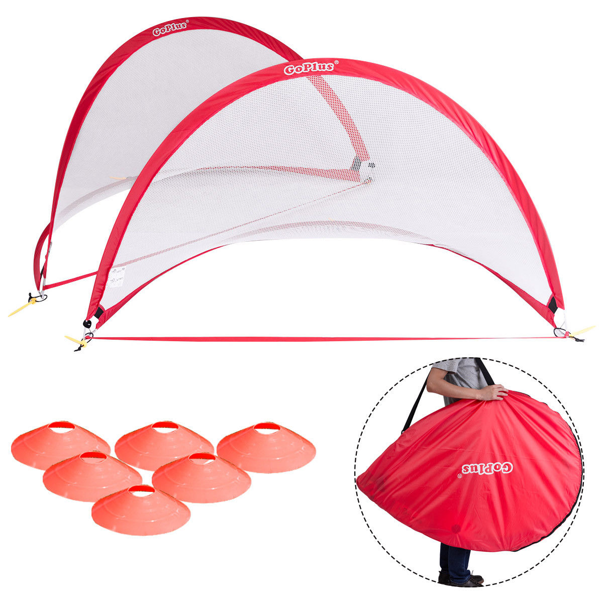 Goplus Set of 2 Portable 6' Pop-Up Soccer Goals Set For Backyard w Carrying Bag 6 Cones