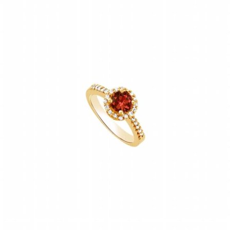 UBNR83499Y14CZGR600 January Birthstone Round Garnet & CZ Engagement Ring in 14K Yellow Gold, 26 Stones](January 26 Birthstone)