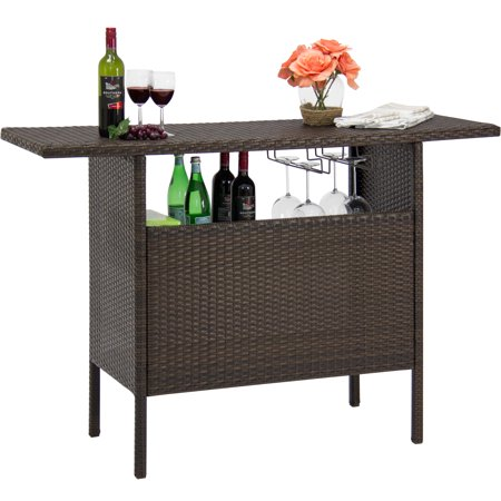 Best Choice Products Outdoor Patio Wicker Bar Counter Table w/ 2 Steel Shelves, 2 Sets of Rails - Brown