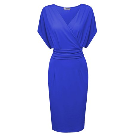 TAM WARE Women Pleated Waist Surplice Neckline Bodycon Midi Dress