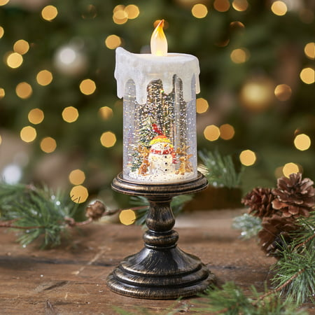 Lighted Holiday Candle Snow Globe - Snow Man ()