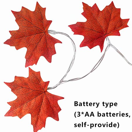 Thanksgiving Decorations 3M 20 LED Battery Powered Lights Maple Leaves Light Garland String - Thanksgiving Decal