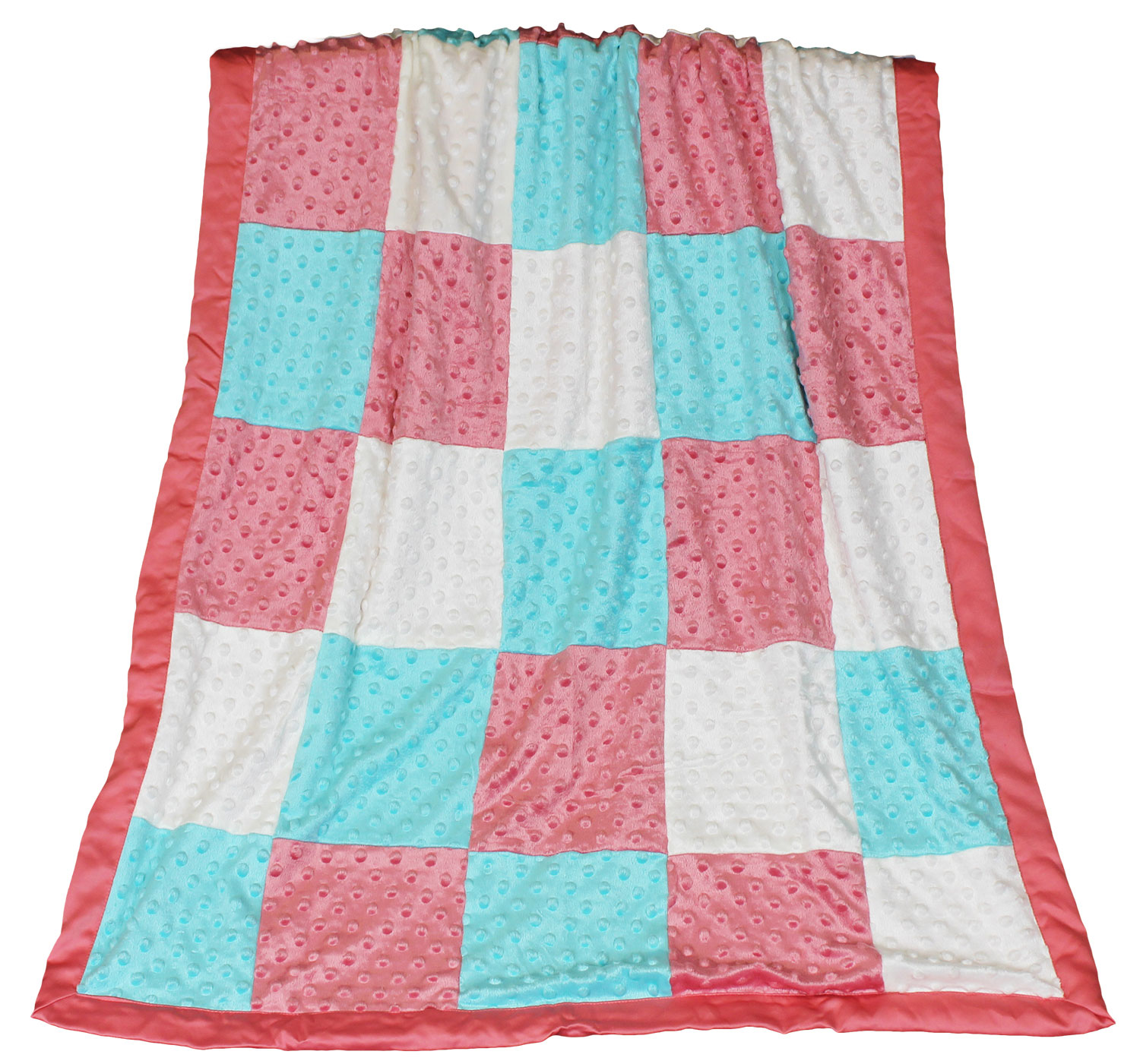 Gia Coral Minky Dot Patchwork Baby Blanket by The Peanut Shell