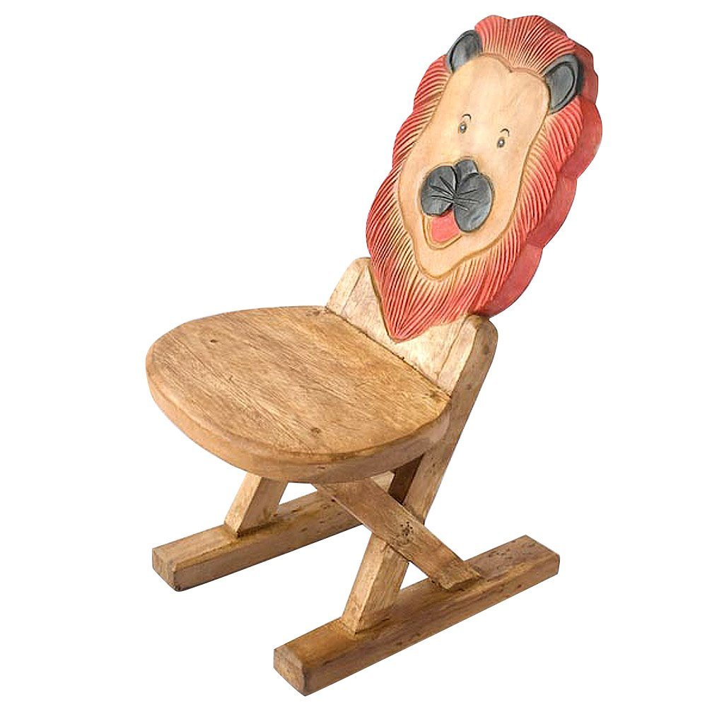 AsiaEXP EXP Handmade and Painted Acacia Wood 'Lion' Child...