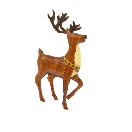 Handmade Wood Christmas Ornament Santa's - Wood Reindeer