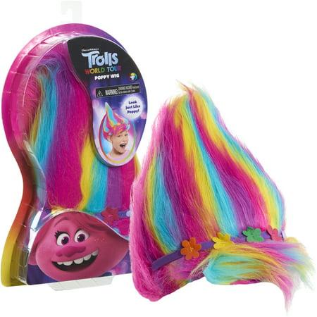 Trolls World Tour Troll-rific Poppy with Rainbow Hair Wig, Ages 3+