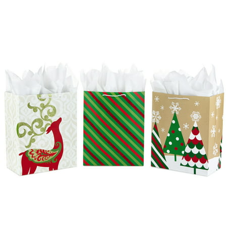 Hallmark Large Christmas Gift Bag Assortment with Tissue Paper, Red and Green (Pack of 3) - Large Paper Bags