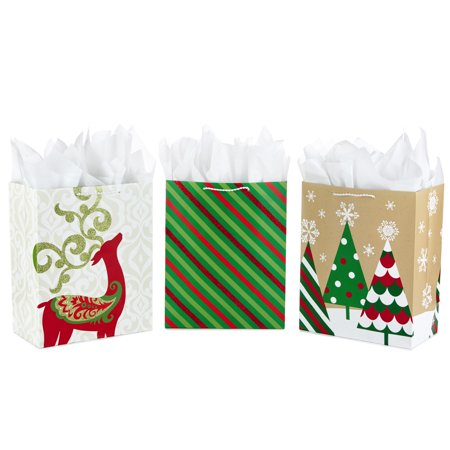 Hallmark Large Christmas Gift Bag Assortment with Tissue Paper, Red and Green (Pack of 3)