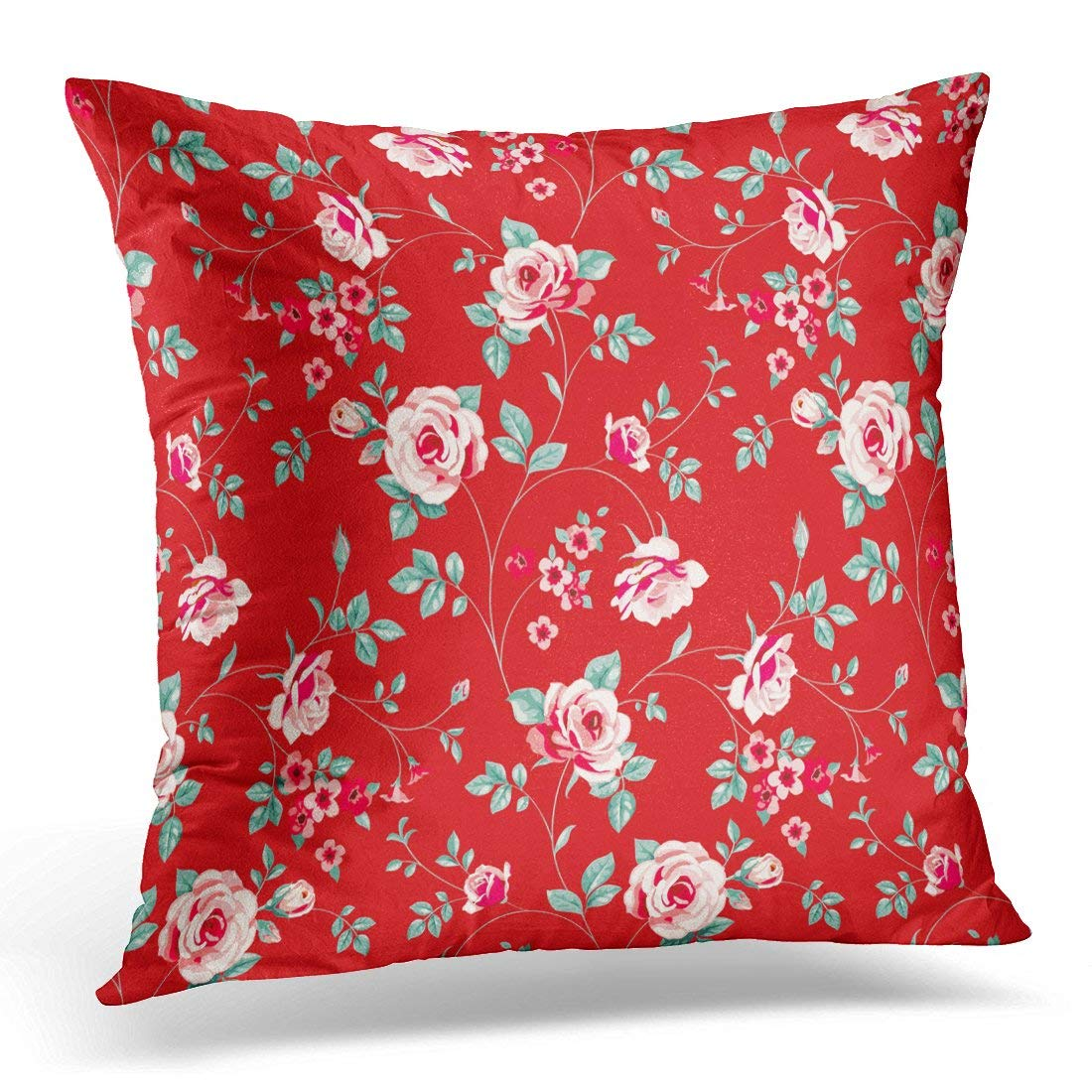CMFUN Twig Floral Pattern Pink Roses with Green Leaves on Red Vintage with Blooming Flowers Bloom Pillows case 18x18 Inches Home Decor sofa Cushion cover