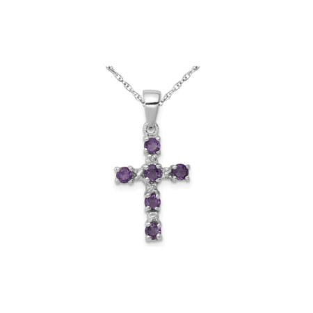 1/3 Carat (ctw) Amethyst Cross Pendant Necklace in Sterling Silver with -