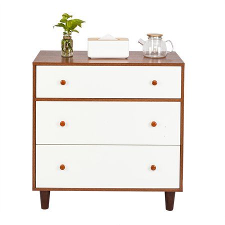 Bedside Table with Three-tier Storage Drawer, White Walnut Side End Table Nightstand, Solid Wood Legs Living Room Furniture, Easy Assembly and Sturdy, I8802