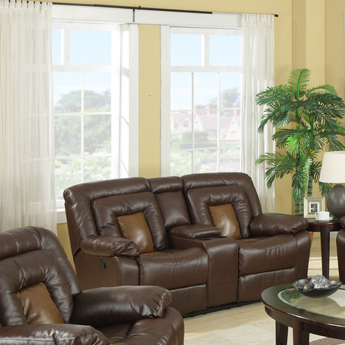 Roundhill Furniture Kmax Leather Reclining Loveseat