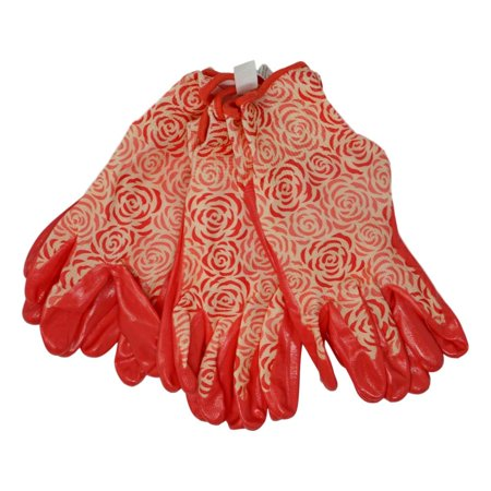 Image of Digz Nitrile Dipped Womens Small Coral Fabric Gloves DIGZ Stretch Knit Garden Gloves with Nitrile Coating (3 Paired Pack, Small)