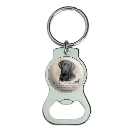 Black Lab Labrador Dog Breed Bottle Cap Opener Keychain Key Ring