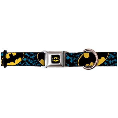 batman dc comics superhero classic & blue shield collage seatbelt pet dog collar - Superhero Dog Collars