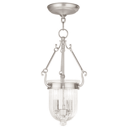Pendants Porch 2 Light With Hand Crafted Clear Melon Glass Brushed Nickel size 9 in 120 Watts - World of Crystal Aged Nickel Crystal Crystal
