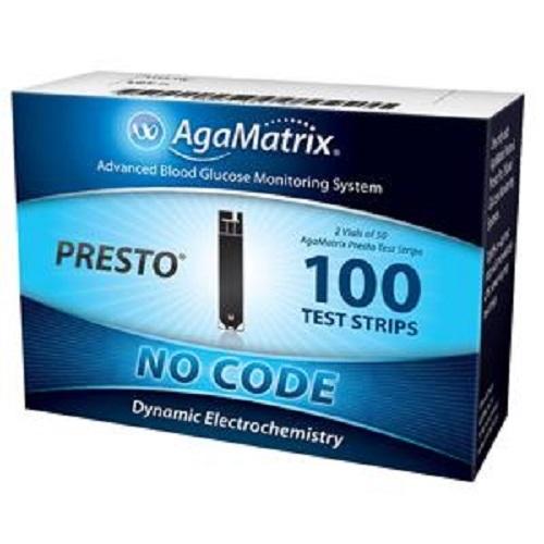 AgaMatrix WaveSense Presto End-fil Blood Glucose Test Strip, 1/2L Sample Size, 4 sec