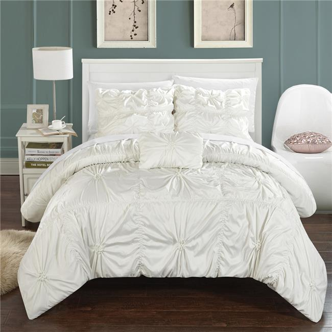 Chic Home DS2246-BIB-US 8 Piece Monet Floral Pinch Pleat Ruffled Designer Embellished Queen Bed in a Bag Duvet Set, White with White Sheets - image 1 de 1