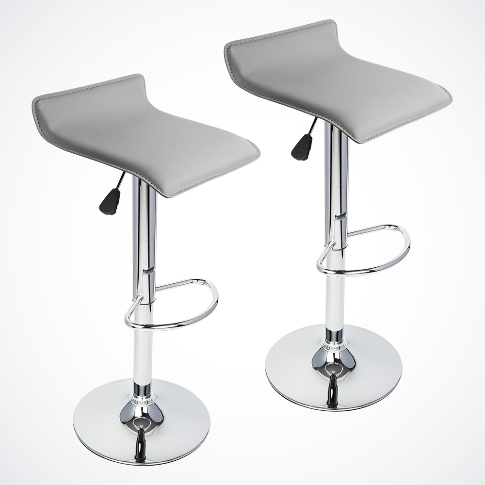 2 Pcs Gray Modern Bar Stool Swivel Chair Pub Counter Low Profile Barstools