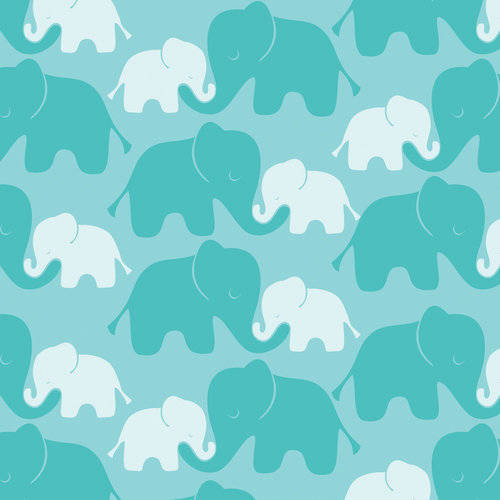 100% Cotton Fabric For Quilting And Crafting By Emma And Mila From The Baby Mine Collection: Elephants In Turquise