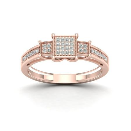 1/8Ct TDW Diamond 10k Rose Gold Cluster Three Stone Shape Ring
