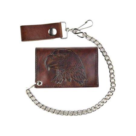 Mascorro Men's Embossed Eagle Head Tri-Fold Antique Biker Chain Wallet (Shooting Head Wallet)