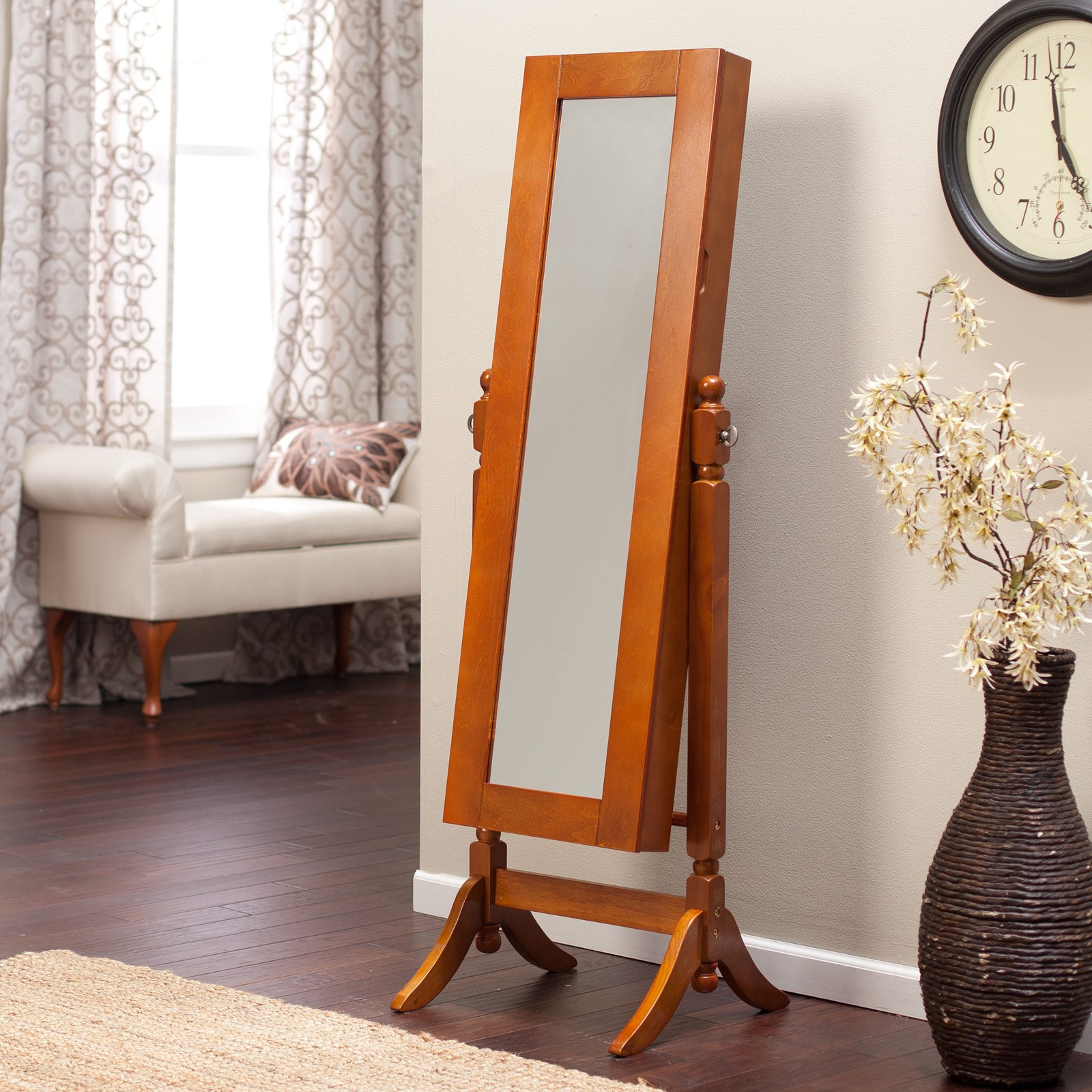 Heritage Jewelry Armoire Cheval Mirror Oak by 4 Seasons Global Inc