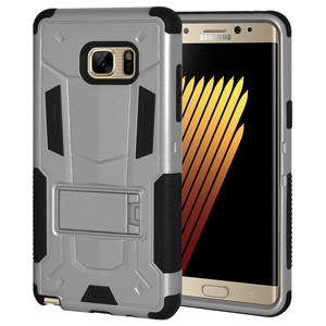 Samsung Galaxy Case, Slim Rugged Dual Layer Cover Hard Protective Back Case for Samsung Galaxy Note Fan Edition, Samsung Galaxy Note FE SM-N935, Samsung GALAXY Note7 SM-N930F - Silver/ Black