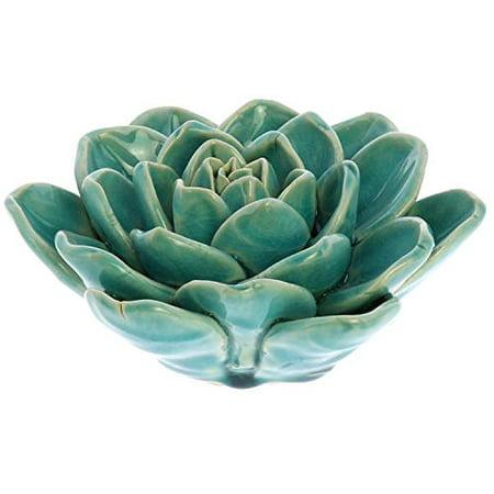 HomArt Ceramic Succulent Flower in Teal Green