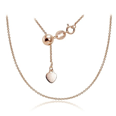 - Rose Gold over Sterling Silver 1.5mm Rolo Adjustable Chain Necklace 20