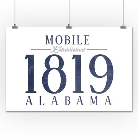 Mobile Alabama Established Date Blue Lantern Press