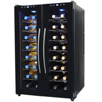 NewAir Silent Wine Cooler 32 Bottle Capacity Dual Zone Refrigerator, AW-320ED Black