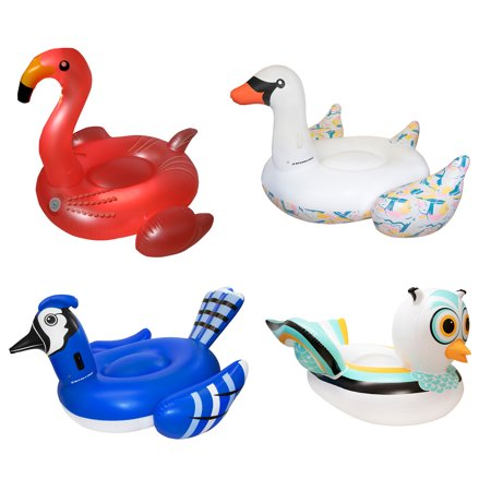 Swimline Giant Inflatable Flamingo, Swan, Jay, Owl Bird Pool Float Raft (4 pack)](Giant Inflatable Swan Pool Float)