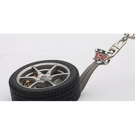 AutoArt 40356 Nissan Skyline R34 GTR Wheel Keychain w/ GT-R Emblem
