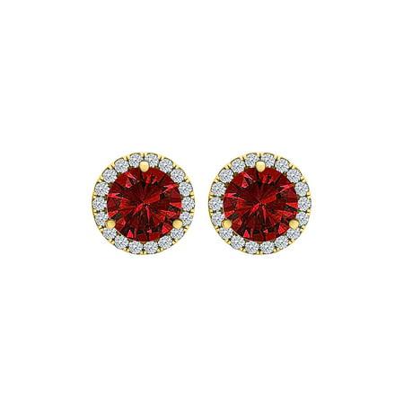 CZ Ruby Round Halo Stud Earrings Yellow Gold Vermeil - image 2 de 2