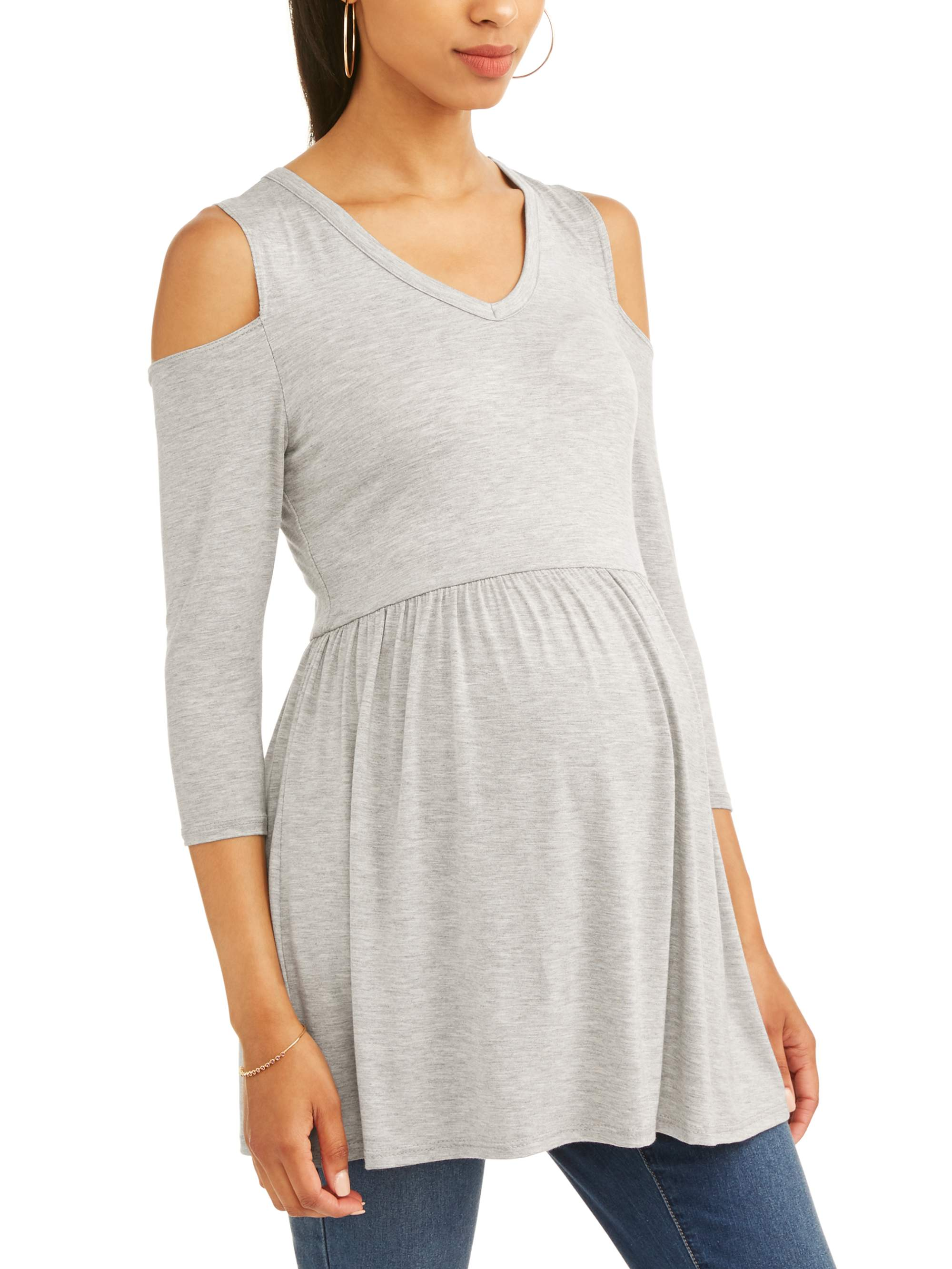 Maternity Cold Shoulder Jersey Tunic by Hanes Brands, Inc