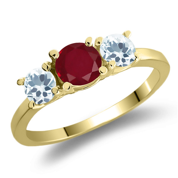 1.00 Ct Round Red Ruby Sky Blue Aquamarine 925 Yellow Gold Plated Silver Ring