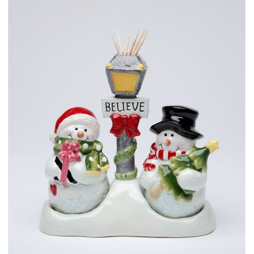 Cosmos Gifts Snowman Salt and Pepper Set Toothpick Holder
