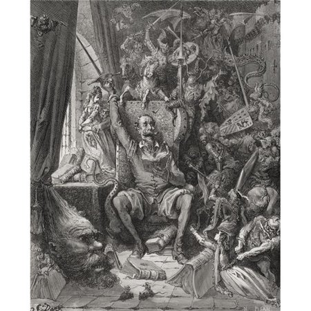 Engraving by Gustave Dore 1832-1883 French Artist & Illustrator of Don Quixote Amongst His Books In His Library From D Poster Print, 13 x 16 - image 1 de 1