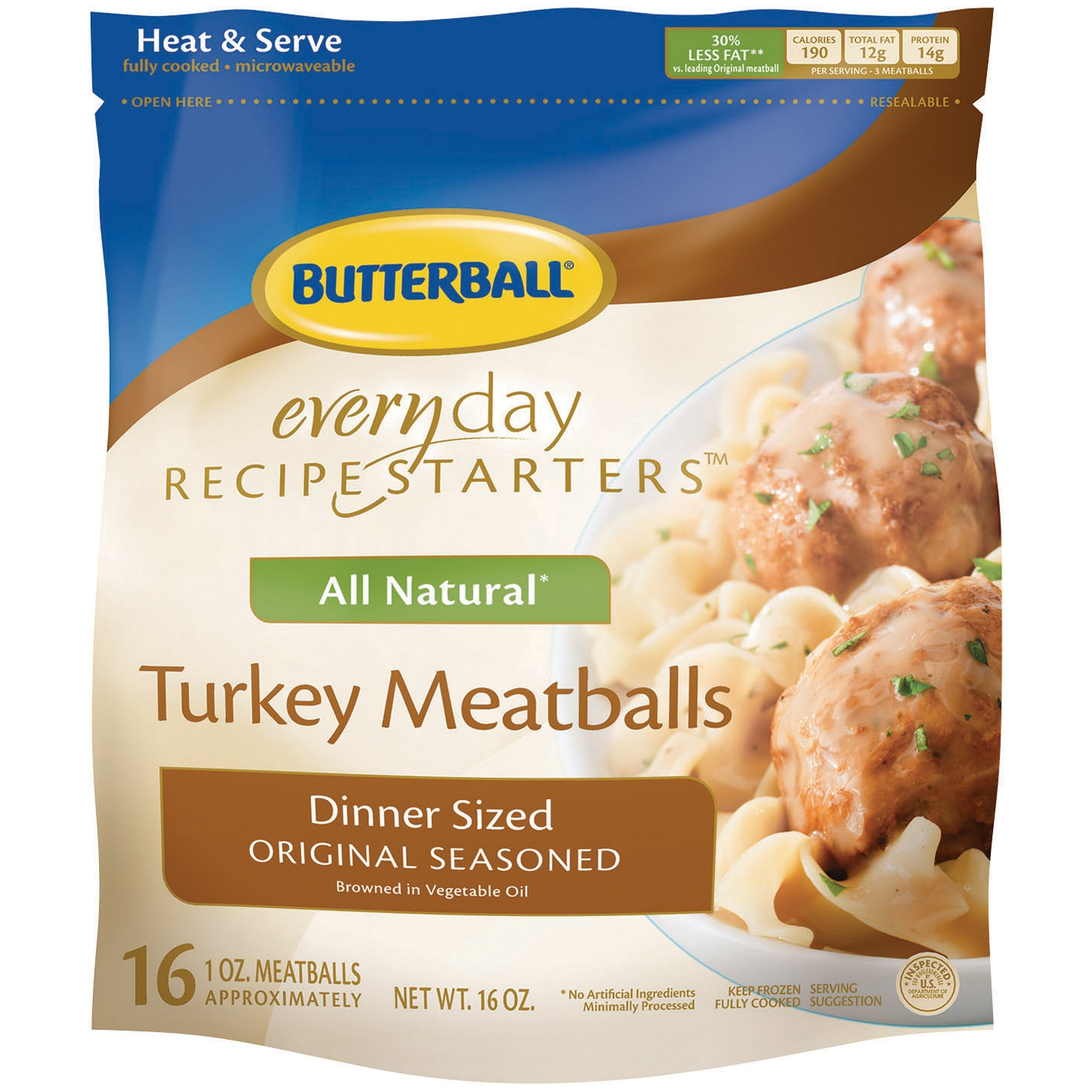 Butterball® Everyday Recipe Starters™ Dinner Sized Original Seasoned Meatballs 16 oz. Bag