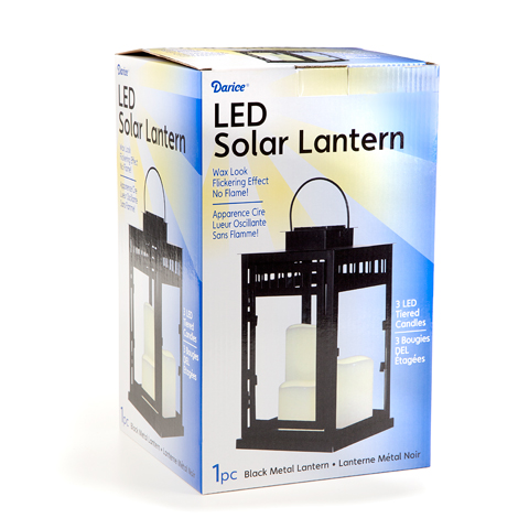 Metal Solar Lantern - Black - Led Candle - 12 x 7 Inches