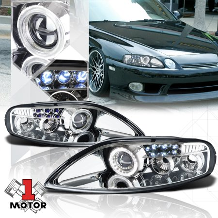 Chrome Halo [ANGEL EYE] Projector Headlight LED DRL for 92-00 Lexus SC300/SC400 93 94 95 96 97 98 (Angel Eye Halo Projector Headlamps)