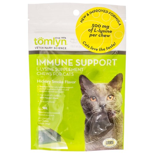 Tomlyn Immune Support L-Lysine Chews for Cats - Hickory Smoke Flavor 30 Chews - (500 mg L-Lysine per Chew)