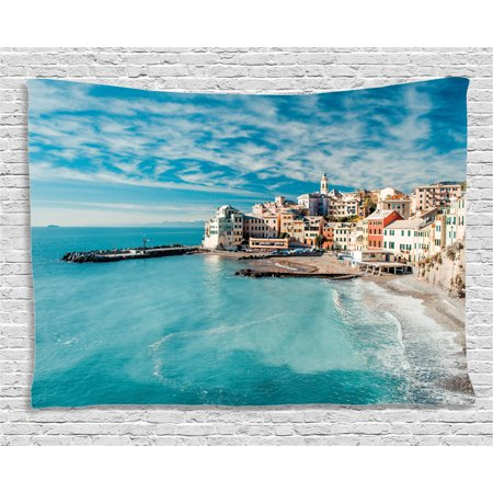 Farm House Decor Tapestry, Panorama of Old Italian Fish Village Beach Old Province Coastal Charm Image, Wall Hanging for Bedroom Living Room Dorm Decor, 60W X 40L Inches, Turquoise, by Ambesonne