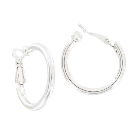 Silver Tone Clip On Hoop Earrings  15/16""