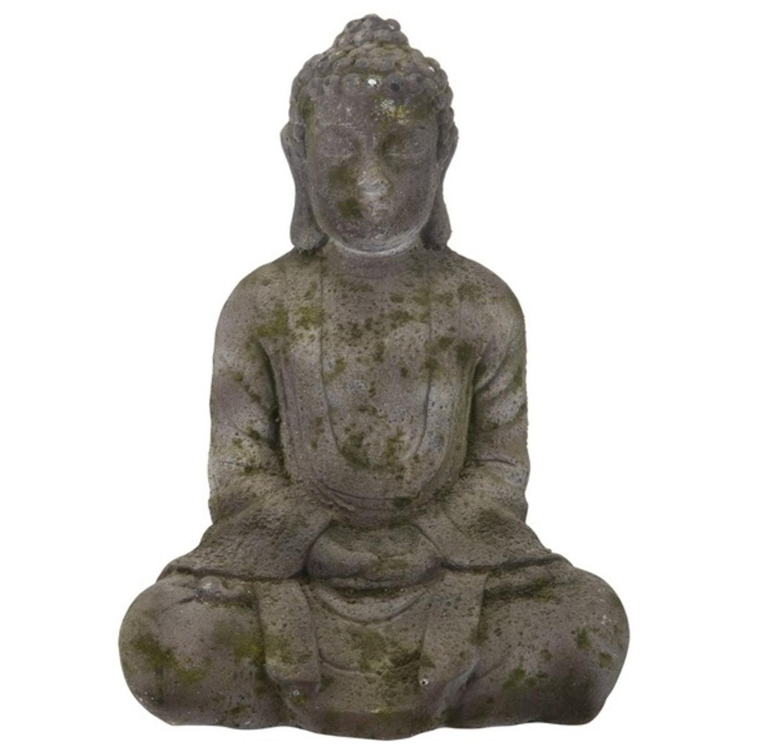 """14"""" Antique Gray and Green Sitting Buddha Statue by A & B Home"""