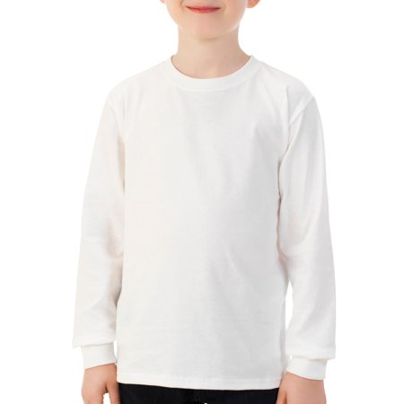 Fruit of the Loom Boys 4-18 Long Sleeve Crew T-Shirt with Rib Cuffs (Fruit Of The Loom Boys Tshirts)