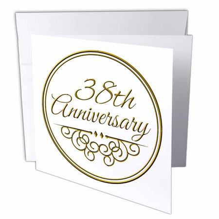 3dRose 38th Anniversary gift - gold text for celebrating wedding anniversaries - 38 years married together, Greeting Cards, 6 x 6 inches, ...
