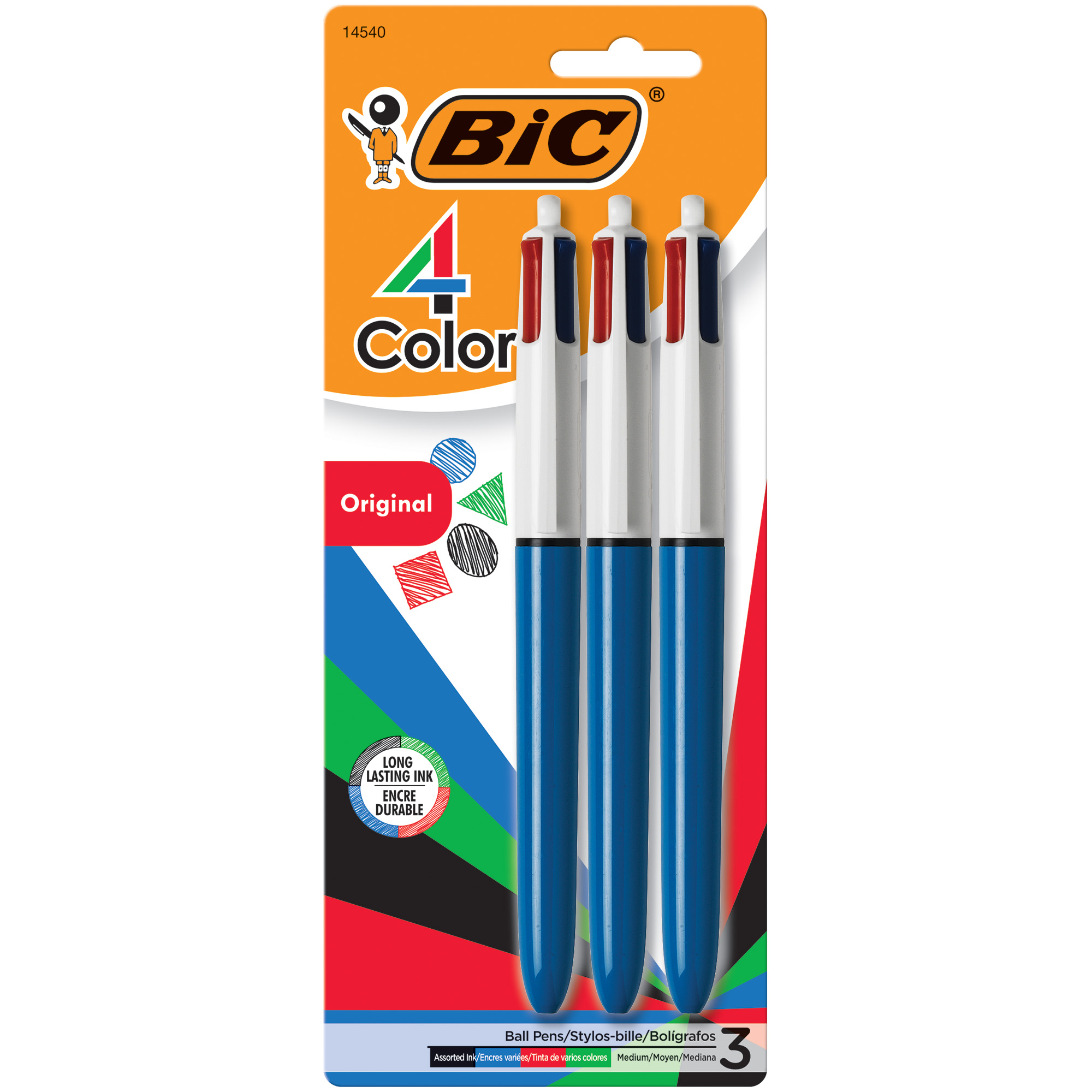 BIC 4-Color Ball Pen, Medium Point, (1.0 mm), Assorted Ink, 3-Count by BIC USA Inc.