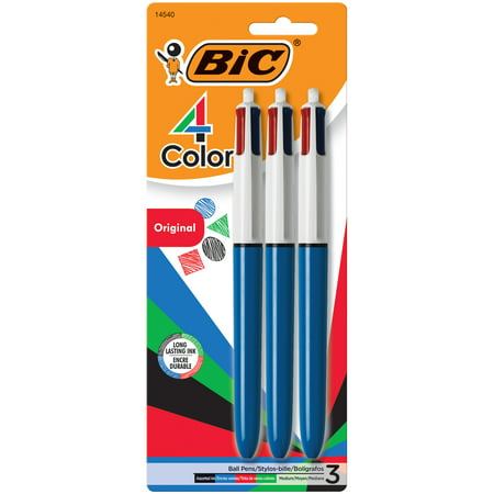 BIC 4-Color Ball Pen, Medium Point, (1.0 mm), Assorted Ink, 3-Count